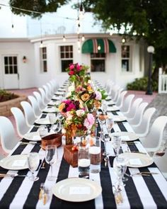 black and white striped linen
