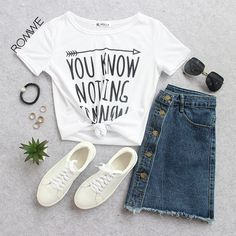 Pair your casual t shirt with a denim skirt for a casual but stylish look!
