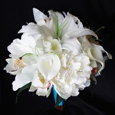 Ivory Natural Touch Wedding Flower Bouquet made with Peonies, Lilies, Calla Lilies, Orchids and Feather Accents.