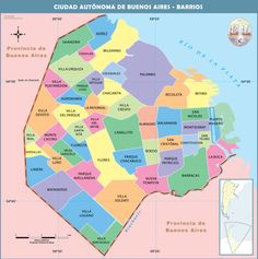 Buenos Aires city large tourist and administrative subdivisions map. Equador Quito, Tourist Map, Paris Map, Argentina Travel, City Maps, Travel Information, Tour Eiffel, Costa Rica, The Neighbourhood