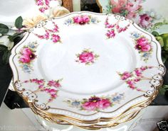 CAULDON CAKE PLATE WITH HAND PAINTED FLOWERS ROSES GOLD GILT HANDLES 1890'S TO 1902