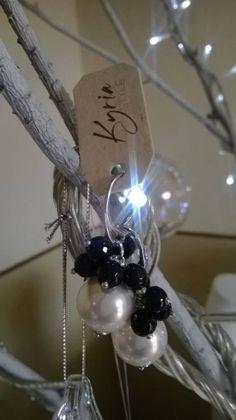 Orecchini in silver pietre nere di onice e perle