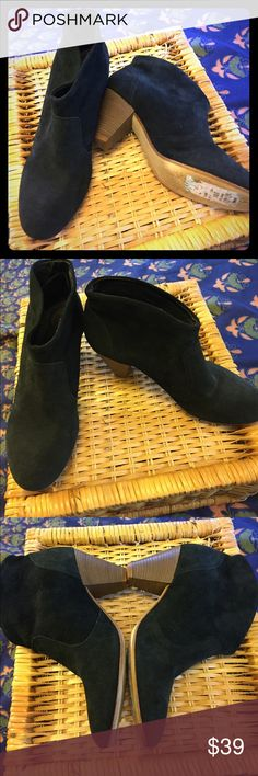 """STEVEN by Steve Madden Suede Ankle Boots-Size 8 (NWT) black suede slide-on ankle boots with 3"""" heel. Retail at $129 Steven by Steve Madden Shoes Ankle Boots & Booties"""