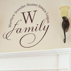Show off your family name with this customizable Initial Family Wall Decal from Alphabet Garden.   This piece allows you to list all of the family names in a circle around the initial for the family's last name