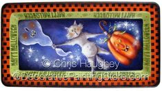 The Decorative Painting Store: Scaredy Cat Tray ePattern - Chris Haughey - PDF DOWNLOAD, Newly Added Painting Patterns / e-Patterns
