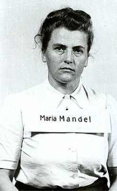 Maria Mandel after her arrest by US troops, 1945. Top ranking official at Auschwitz-Birkenau responsible for the deaths of over 500,000 female prisoners. The United States Army arrested Mandel on August 10, 1945. She was handed over to the Republic of Poland in November 1946, and in November 1947 she was tried in a Kraków courtroom in the Auschwitz Trial and sentenced to death. Mandel was hanged on January 24, 1948 at the age of 36.
