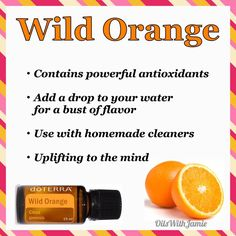 """WILD ORANGE is the oil we diffuse more than any other oil in our home. It uplifts me, calms my boys, and helps with stressful days. AND....it smells amazing!! It has a sweet, fresh, citrus smell and is great to use when you need an immune boost. Emotionally, it is the """"Oil Of Abundance"""" and can help to foster creativity and encourage one to enjoy life.  My Healthy Family Tip: Mix with water and use as a simple disinfectant spray."""