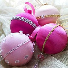 DIY Christmas ornaments: Bejeweled Satin Ornaments