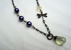 Dragonfly Necklace  Dragonfly Jewelry   by stonehorsedesigns