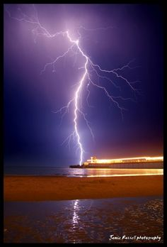 Isle of Wight Southern Britain lightning strike by Jamie Russell