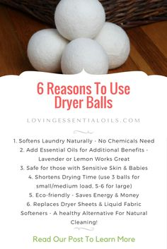 6 Reasons to Use Dryer Balls | Perfect Match With Essential OiIs For Natural Cleaning For Your Laundry | Use Lavender or Lemon to Freshen Clothes