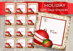 Printable Christmas Gift Tags Instant Digital by sssstudio on Etsy