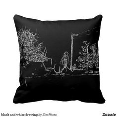 black and white drawing throw pillow