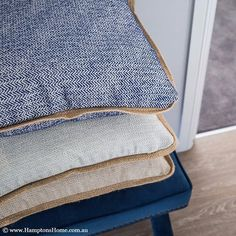 Hamptons Home | These SYDNEY cushion covers with its natural jute edging are always in season, and we especially love the herringbone detail.  Pop a few of these around the house for a subtle colour accent for the seasonal shift to summer.