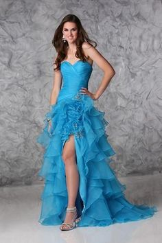 Lovely blue prom dress, with front split, from Xcite Prom by Impression.