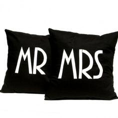"Cushion Covers - ""MR MRS"" - Hand Screen Printed Cushion Covers from Linnea - Swedish Design Linnea Axelsson Handmade Cushion Covers, Handmade Cushions, Black Cushions, Printed Cushions, Great Wedding Gifts, Wedding Ideas, Wedding Advice, Perfect Wedding, Swedish Design"