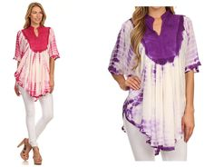 Features beautiful tie dye and embroidery pattern with v neck opening in delicate rayon material for a poncho fit. #womens  #tops #ladies #apparel #blouses #fall #clothing #shirt #fashion #dress #women #plussizes #online #apparal #onlineshopping #fashionable