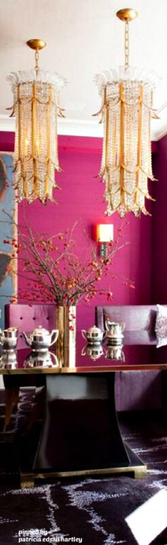 Invigorating bright pink walls, purple upholstered chairs and colorful contemporary art enliven this eclectic dining room. And what about those two stunning chandeliers? Image: Digs Digs room design pink How to Decorate with Bold, Bright Beautiful Color Dining Nook, Dining Room Design, Dining Table, Nook Table, Dining Chairs, Interior Inspiration, Room Inspiration, Design Inspiration, Home Interior