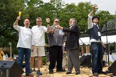 """Lucian LaBarba and Eddie """"Lucky"""" Campbell raise a glass to CFF honored chefs, Stephan Pyles, Dean Fearing and Kent Rathbun."""