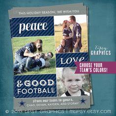 Wishing You Peace Love & Good FOOTBALL.   Fun Photo Holiday Christmas Card  NFL Dallas Cowboy Fans