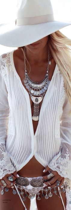 //White lace top ~Summer gorgeousness #fashion #boho #accessories #necklace #hat