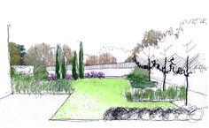 dibujo jardín en patio de vivienda