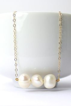 Triple Freshwater Pearl / Gold Necklace Pearl by ForTheMaids