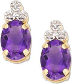 Couple cool amethyst with glittering diamonds to make her February birthday - or any event - special. Multifaceted oval-cut amethyst are crowned with round-cut diamond accents and set in 10k gold.