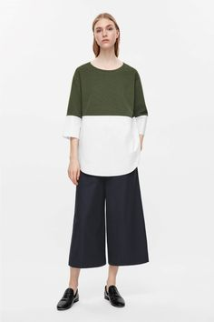 COS image 8 of Jumper with shirt hem in Khaki Green
