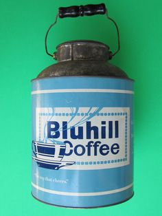 Bluhill Coffee, mid 30's, last brand in America to use this style of tin, my collection Coffee Tin, Coffee Cafe, Vintage Tins, Vintage Coffee, Coffea Arabica, Tea Tins, Flea Market Finds, Coffee Packaging, Household