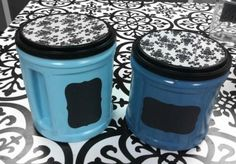 """Altered coffee cans - a smidge fancier, with the lids """"decorated"""" as well Folgers Coffee Container, Plastic Coffee Containers, Reuse Containers, Coffee Can Crafts, Can Lids, Fancy Kitchens, Trash To Treasure, Coffee Cans, Coffee Canister"""