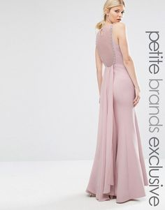 Little Mistress Petite | Little Mistress Petite Lace Back Pleated Train Maxi Dress
