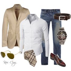 Sharp. men's total outfit, individual pieces  (suit jacket and tie with jeans)