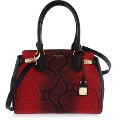 Henri Bendel Carlyle Snake Satchel featuring polyvore fashion bags handbags purses red genuine leather handbags satchel handbags red leather handbag red purse leather handbags