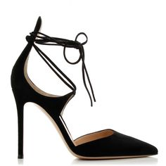 Gianvito Rossi Suede Black Sandals ($610) ❤ liked on Polyvore featuring shoes, sandals, heels, suede leather shoes, tie shoes, gianvito rossi, black shoes and black sandals