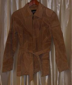 Genuine suede patchwork jacket coat light brown, SMALL Leather Works U.S.A. #LeatherWorks #BasicJacket #Casual
