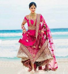 Indian Bride In Hot Pink Lehenga Indian Wedding Bride, Indian Wedding Outfits, Bridal Outfits, Indian Outfits, Bridal Dresses, Indian Weddings, Wedding Dress, Wedding Bells, Dream Wedding