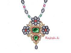 Pendant Set, Diamond Pendant, Pendant Necklace, Jewelry Design Drawing, Gold Jewelry, Jewellery, Motifs, Designs To Draw, Antique Gold