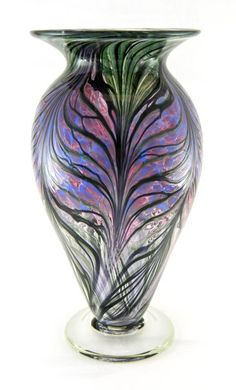 Hand Blown Art Glass Vase -Amethyst Purple and Pale Blue