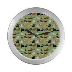 Puppies Silver Wall Clock with Green Background