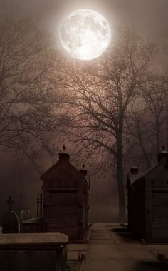 full moon over the cemetary