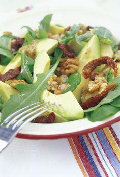 Walnut & Avocado Salad with Warm Mustard Vinaigrette