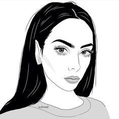 grunge, noir et blanc, dessin, beauté, fille, yeux, lèvres, art, alternative, sourcils