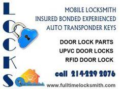 Mobile locksmith insured bonded experienced auto transponder keys Door lock parts upvc door locks rfid door lock 214-229 2076. www.fulltimelocksmith.com