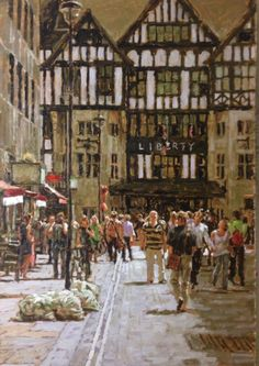 Embedded image permalink Victorian London, Painting People, Great Paintings, Art Themes, Urban Landscape, Painting Inspiration, Modern Art, The Neighbourhood, Architecture