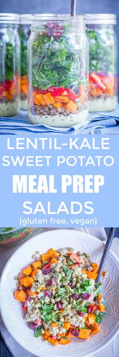 Sweet Potato, Lentil & Kale Meal Prep Salads with Curry Tahini Dressing - These delicious salads are flavorful, filling and healthy! Make them on Sunday and have lunch all week long! Vegetarian Meal Prep, Best Vegetarian Recipes, Lunch Meal Prep, Healthy Meal Prep, Vegan Recipes Easy, Lunch Recipes, Whole Food Recipes, Eating Healthy, Free Recipes