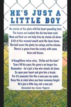 Little boys and baseball...overbearing parents at games need to remember this