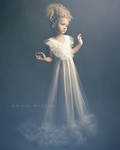 Flower Girl Tulle Dress Baby Girl Long Ivory Gown by
