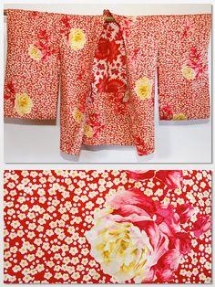 Exquisite Red and Yellow Rose with sakura Japanese kimono vintage jacket (haori)