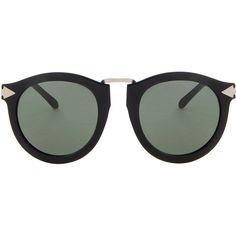 KAREN WALKER Harvest Sunglasses ($282) ❤ liked on Polyvore featuring accessories, eyewear, sunglasses, black glasses, karen walker, black sunglasses, karen walker sunnies and karen walker eyewear